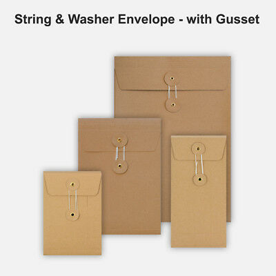 DL C4 C5 C6 Quality String&Washer With Gusset Envelope Button Tie Manilla