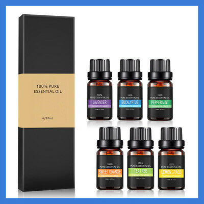 6x 10ml Essential Oil Set 100% Pure Natural Aromatherapy Therapeutic Grade Oils