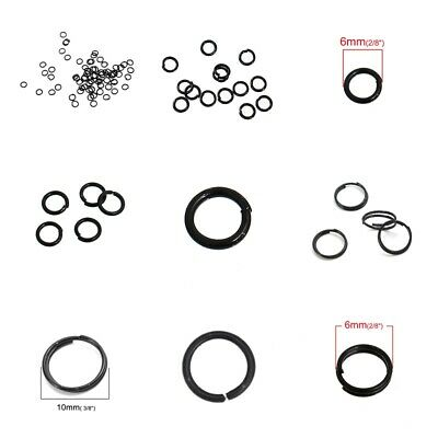 BLACK Plated Alloy Opened Jump Rings Findings Round 4X0.7mm, 6x1mm( B0080395)