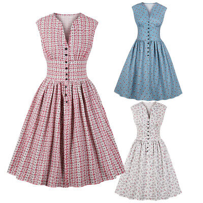 Ladies 1940s 50s Rockabilly Vintage Style Retro Womens Party Swing Audrey Dress
