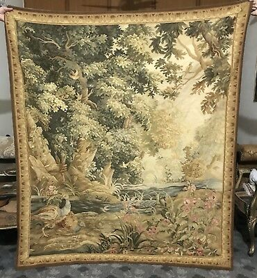 18Th Century Antique  Aubusson French Tapestry Garden Sean Decor Fragment