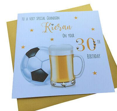 Handmade Personalised Beer Football Birthday Card