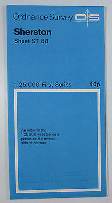 1974 old vintage OS Ordnance Survey 1:25000 First Series map ST 88 Sherston