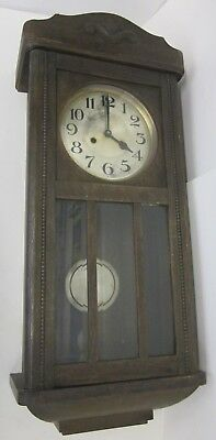 Large Vintage Wall Clock with Pendulum Unknown Origin and Age