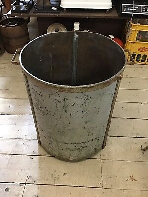 Vintage Large Brass Pot Drum Old Washing Machine 55cm H Rustic Farm