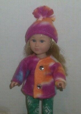 Doll Clothes-fit Mini American Girl Boy My Life-Coat & Hat-Fleece-Tye Dye