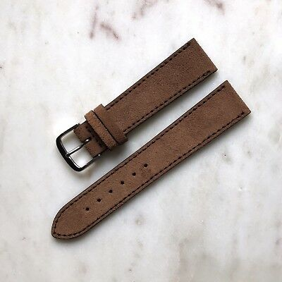20mm Handmade Vintage Cinnamon Brown Genuine Suede Leather Watch Strap Band