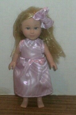 "6/6.5"" Doll Clothes-fit Mini American Girl My Life-Dress & Bow-Pink Shimmer"