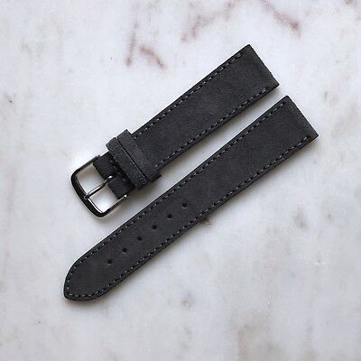20mm Handmade Vintage Slate Grey Genuine Suede Leather Watch Strap Band