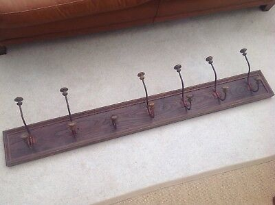Gorgeous French  Antique Oak Hat and Coat Rack with 7 Hooks