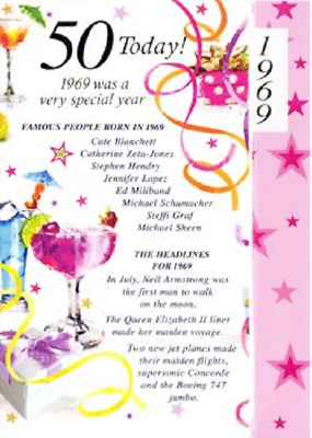 Age 50 Born In 1969 Special Years Happy Birthday Card Female