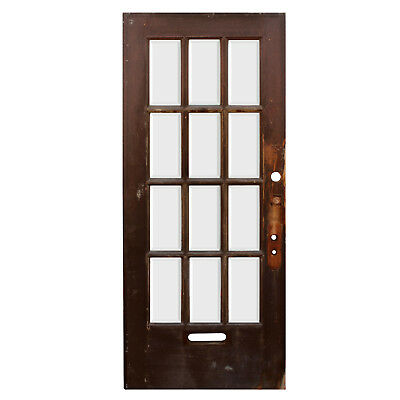"Reclaimed 36"" Antique Divided Light Door, Beveled Glass, NED938"