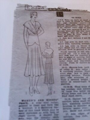 Antique Sewing Pattern- Ladies Dress Excella- #3394