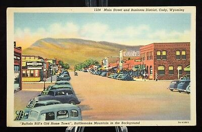 Postcard Main Street And Business District Cody Buffalo Bill Old Town Wyoming WY