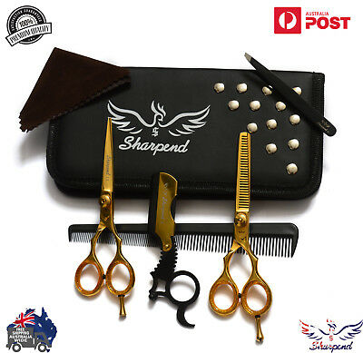 New Professional Barber Hairdressing Scissors 5.5 Gold Set With Free Razor AU