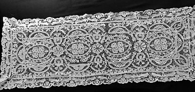 "Antique Beautiful Off-white Needle Lace Floral Motif Large Runner 46"" x 17"""