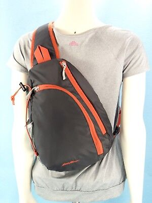 Eddie Bauer Gray Sling Backpack Crossbody Bag Travel Org Purse Unisex M $35 NWOT