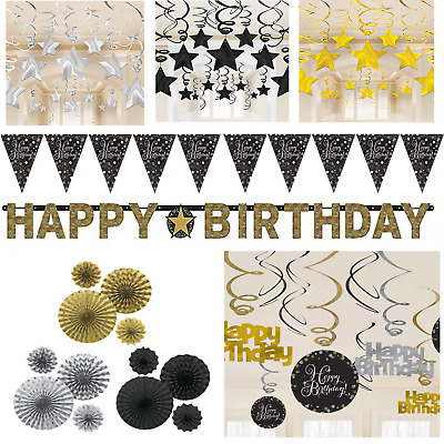 Birthday Party Decorations Black Gold Silver Banner Fans Bunting Swirls Stars