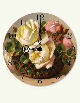 Victorian Trading Co NWD Cabbage Rose Wall Clock Free Ship 23D