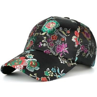 Women's Baseball Cap Floral Satin Embroidery Adjustable Girls Trucker Hat AKIZON