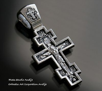 Save And Protect Body Russian Greek Orthodox Crucifix Cross W/prayer Silver 925