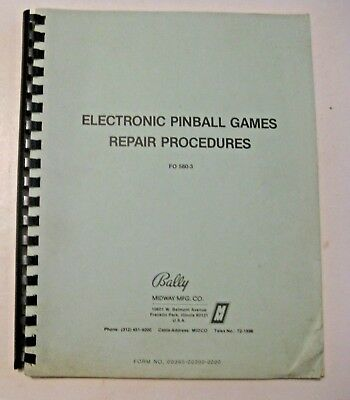 Vintage 1981 Bally Pinball Games Repair Manual ~ Pinball & Arcade Machine Game