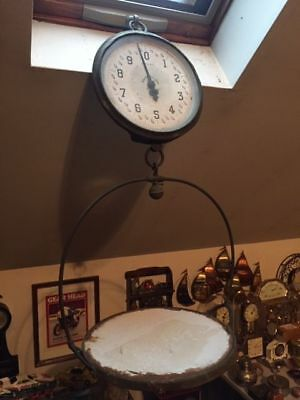 Antique JOHN CHATILLON & SONS Country Store Hanging Weight Scale w porcelain pan