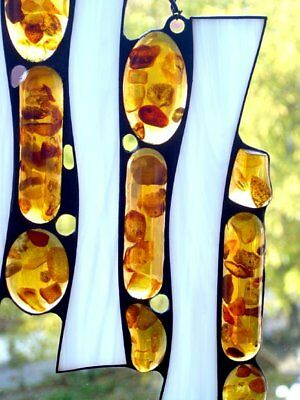 Stained Glass Panel, Abstract Suncatcher, Baltic Amber