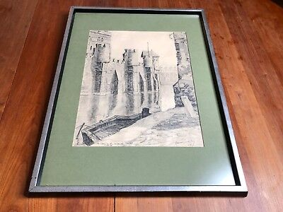 Nicholas Hornyansky Original Large Pencil Drawing of a Castle Signed Dated 1928
