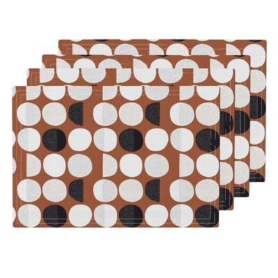 Cloth Placemats Moon Phase Cycle Round Circle Retro Abstract Set of 4
