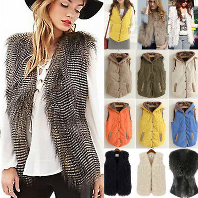 Women Waistcoat Sleeveless Hooded Jackets Coats Outwear Vest Faux Fur Warmer