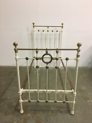 Magnificent Antique Victorian White Cast Iron & Brass Single Bed