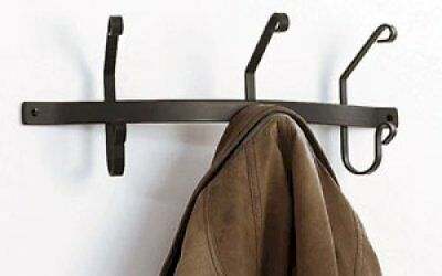 "Wrought Iron Coat Bar 3 Coat Hooks 21"" Long Rack Hanger Wall Mount Home Decor"
