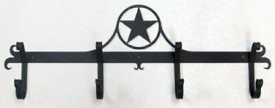 Wrought Iron Coat Bar Western Star Pattern 4 Hooks Black Home Wall Decor Rack