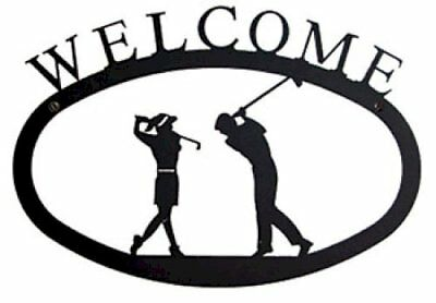 Wrought Iron Welcome Sign Two Golfers Silhouette Large Outdoor Plaque Home Decor