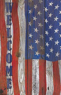 Welcome American Garden Flag Emotes Double Sided Americana USA Yard Banner