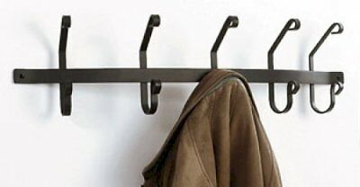 "Wrought Iron Coat Bar 5 Coat Hooks 30"" Long Rack Hanger Wall Mount Home Decor"