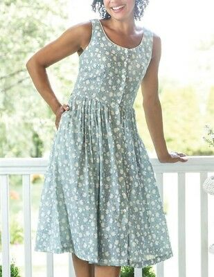 Victorian Trading Co NWOT April Cornell Porcelain Blue Floral Porch Dress LG 26A
