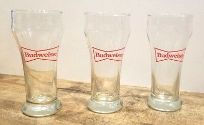 """Set of 3 Vintage 6"""" Budweiser Pub Style Beer Glasses With Bow Tie Logo"""