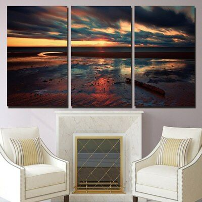 3 Panel Canvas Beach Sunset Wall Art Modular Decorative  Brand New