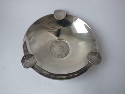 """Solid Silver """"Eastern Coins"""" Ash Tray/ Dia 9.4 cm/ 65 g/ UNMARKED"""