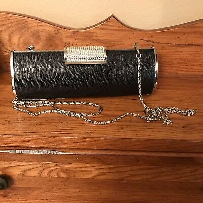 Women's Black Evening Purse Faux Leather with Silver Trim Chain Strap and Clasp