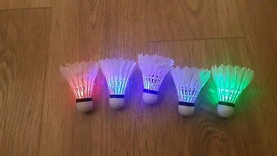 LED Badminton Shuttlecocks x5. Multi coloured.