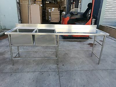 Brand New Commercial Stainless Steel Double Sink 2400x700x900 + 100mm splashback