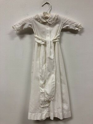 Pair of Antique Victorian Lace Off White Cotton Baby Christening Gowns
