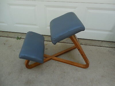 Vintage Bent Wood Ergonomic Kneeling Posture Chair Criss Cross Design