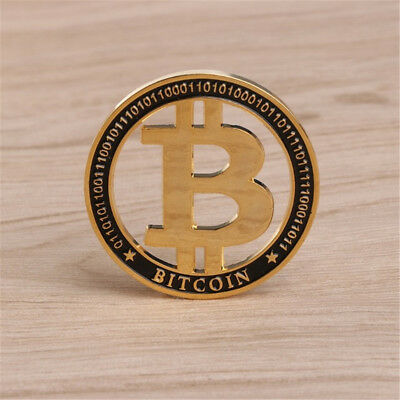 Hollow Gold Bitcoin Commemorative Collectors Coin Bit Coin is Gold Plated Coins