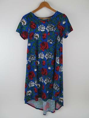 LuLaRoe LLR Blue Red White Rose Floral Carly Dress Womens Small Green Unicorn