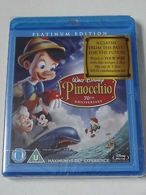 Walt Disney Pinocchio 70Th Anniversary Platinum Edition Blu Ray & Dvd New Sealed