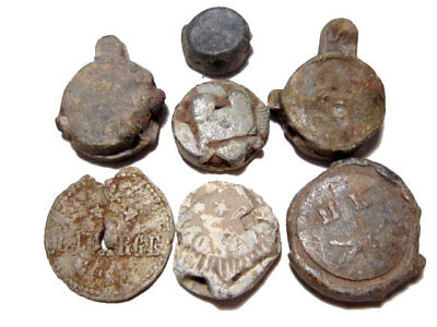 LOT of 5 pcs. INTERESTING ANTIQUE LEAD SEALS, BROAD VARIETY AND AS FOUND!!!